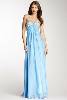 La Femme Beaded Cutout Back Strapless Gown  Bridesmaids?