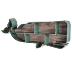 Dalata Whale Bookcase - Hand painted antiqued metal Datala Whale shelf with natural wood finish back. Shipping for this item is only available with our Deluxe