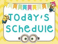 "Organize your classroom with these Minion Daily Schdule posters! Included in the download:1 8x11 Poster ""Today's Schedule""12 Premade Schedule Cards-bell work-centers-daily 5-math-science-social studies-p.e.-library-music-lunch-recess-dismissal-party4 Blank Cards to create your ownCheck out my store for many more Minion products!"
