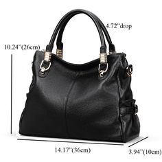 4362818be018 Kattee Womens Genuine Leather Handbag Urban Style Shoulder Tote Satchel Bag  Black     To