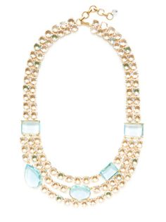 Blue & Clear Quartz necklace from BounkIt Multi Strand Necklace, Quartz Necklace, Clear Quartz, Product Launch, Beaded Bracelets, Jewels, Crystals, Clothes For Women, Gold