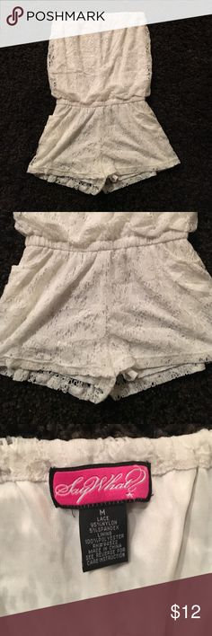 Off White Romper size medium Super cute on! No flaws,stains or snags.In great condition.Delicate cycle washed and lined dried only.Has a soft silky lining on the inside so it's not see through. Say What? Pants Jumpsuits & Rompers