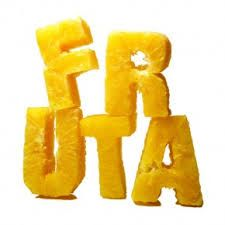 fruit cut out into letters to form food typography