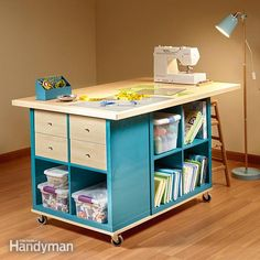 hack the ikea kallax shelf to build a worktable with a huge surface, convenient craft storage and easy mobility by sandwiching three small storage units between a base with casters and a plywood top with hardwood edging.