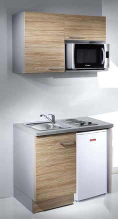 Meuble Kitchenette More Small Space Kitchen, Compact Kitchen, Mini Kitchen, Small Spaces, Small Kitchenette, Basement Kitchenette, Studio Kitchenette, Kitchenette Design, Kitchenette Ideas
