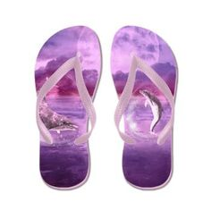 Dream Of #Dolphins Flip Flops Dolphins swimming in water bubbles. The sea and the landscape is purple!  €14.50