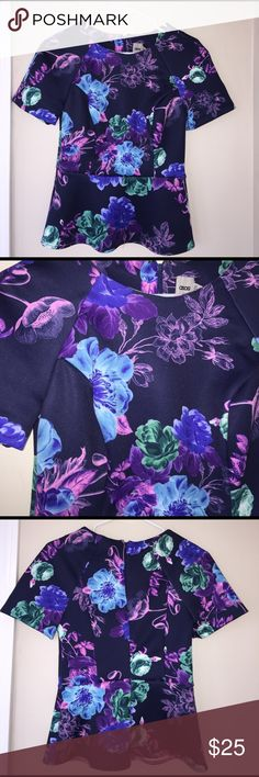 Floral peplum top This is brand new with tags! Such a beautiful vibrant floral peplum top! Perfect for spring and summer! Very thick stretchy material & has a zipper detail in the back. ASOS Tops