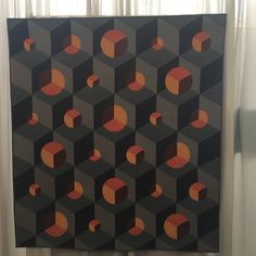 Meadow Mist Designs: QuiltCon 2018 Recap: Orange Opals by Katherine Jones 3d Quilts, Cute Quilts, Baby Quilts, Geometric Quilt, Hexagon Quilt, Patch Quilt, Quilt Blocks, Monochromatic Quilt, Optical Illusion Quilts
