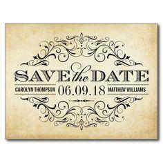Vintag Save the Date Wedding | Strudel und blühen Postkarte