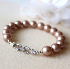champagne Brush Pearl  Bracelet Swarovski Pearls cubic zirconia clasp bracelet  by DreamIslandJewellery on Etsy