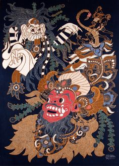 Batik Art - Barong and Rangda locked in the eternal battle of good (represented by the barong) and evil.