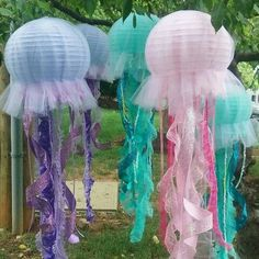Jellyfish lantern hanging decoration pink, purple or aqua for under the sea party, little mermaid party etc. one lantern per lot - Jellyfish lantern hanging decoration pink purple or aqua for Mermaid Theme Birthday, Little Mermaid Birthday, Little Mermaid Parties, The Little Mermaid, Mermaid Themed Party, Mermaid Under The Sea, Purple Birthday, Mermaid Baby Showers, Baby Mermaid