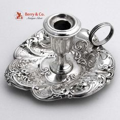 Gorham 324 Candlestick Chamber Stick Repousse Sterling Silver