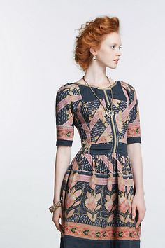 Vanga Vintage Kantha Dress - Anthropologie.com    I sooo want to knock this off.  I love the proportions!