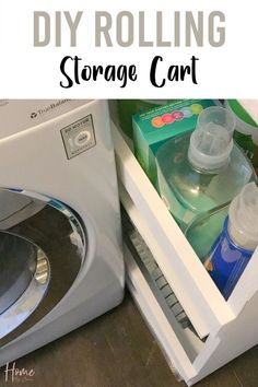Easily add extra storage to any small space with a DIY rolling storage cart. This simple laundry storage cart DIY project uses common tools and is perfect for a beginner DIYer.