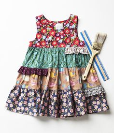 Paint by Numbers Cactus Flower Shasta Dress Little Girl Outfits, Cute Girl Outfits, Little Girl Dresses, Kids Outfits, Girls Dresses, Toddler Dress, Baby Dress, Baby Sewing, Kind Mode