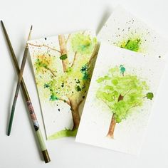 Think you can't create art? This tutorial will prove you wrong. Use unconventional (fun!) techniques and tools to make watercolor trees.