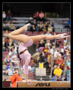 Another gorgeous balance beam shot; it really just shows off the artistry in gymnastics.  Should look nice in silhouette as well.