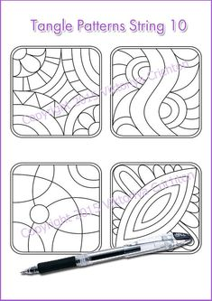 Strings for drawing zentangles. Tangle pattern by ZentangleHouse Dibujos Zentangle Art, Zentangle Drawings, Zentangle Patterns, Doodle Drawings, Zentangles, Doodle Art, Pattern Drawing, Pattern Art, Doodle Monster