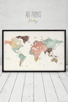grote wereld kaart poster Detail wereld kaart door ArtPrintsVicky