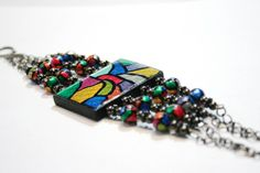Handmade Jewelry - Stained Glass Look Four Banded Bracelet Colorful by TRLTJewelry, $17.00
