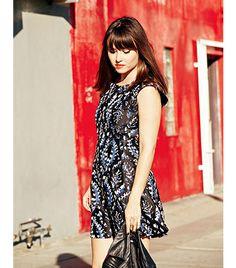 Get Gerri Hirsch of Because I'm Addicted's sweet & sassy holiday look // Theysken's Theory Silk Print Dress ($525)