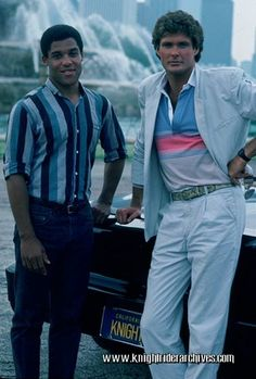Peter Parros, David Hasselhoff and Convertible K.I.T.T. on location at the Grant Park Buckingham Fountain, Chicago, for the filming of KNIGHT OF THE JUGGERNAUT's tag scene - June 26, 1985 #TBT
