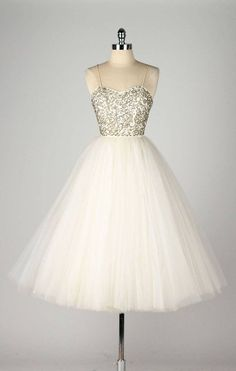 Vintage 1950's Emma Domb Sequins Tulle Dress w/ Original Tags