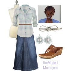 The Country Girl - The Modest Mom  Prefer boots instead of sandals, and skip those HUGE earrings!