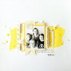 Lucky 12x12 layout - love the pop of yellow and the layers!