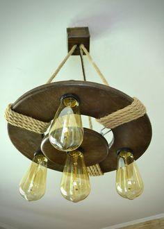 Deckenlampen - Deckenleuchte aus altem Holz, Jute Seil - ein Designerstück von woodslamp bei DaWanda