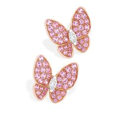 Van Cleef & Arpels two butterfly earcilps with pink sapphires and diamonds.