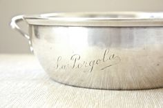 "Vintage French ""La Pergola"" Engraved Silver Dish by Beyond The Brocante on Gourmly"