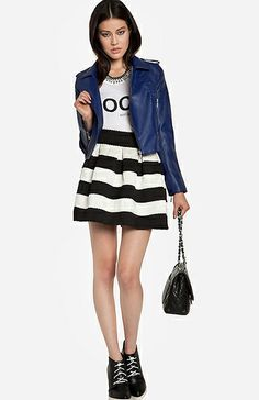 Deep blue is such an awesome twist on a leather jacket and the texture of this skirt is amazing