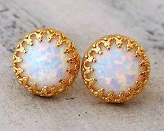 White opal stud  earrings, Opal stud earrings, October birthstone earring, Bridal jewelry, Bridesmaid gifts, vintage earring, Gold or silver