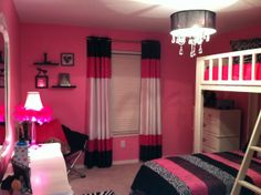 Ideas for teenage girl room. Teen Girl Rooms, Little Girl Rooms, Girls Bedroom, Bedroom Decor, Hot Pink Bedrooms, Bedroom Ideas, My New Room, My Room, Loft Beds For Teens