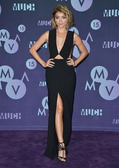 Sarah Hyland in a sexy cutout black dress at the 2015 MuchMusic Awards