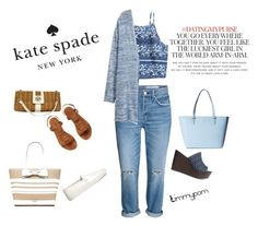"""""""Mix and match!"""" by timmypom ❤ liked on Polyvore featuring Kate Spade, H&M, shoes, katespade, croptops, jeans and bags"""