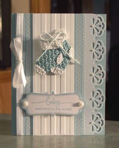 "This is a very sweet handmade baby card that measures 5 1/2"" x 4 1/4"", and was made using Stampin' Up stamp set ""A Word for You"", card stocks, everyday elegance kit, stocking builder punch, stripes and lattice square embossing folders, pool party bakers twine, stampin' dimensionals, small & large craft pearls & satin ribbon. Inside: Blank inside, so you can add your own loving wishes."