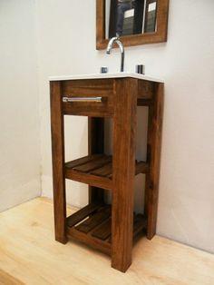 combo vanitory + bacha + espejo ! madera maciza !! oferta !!