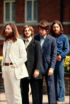 The Abbey Road photo shoot, August 8, 1969. Photos by Linda McCartney and Iain MacMillan.