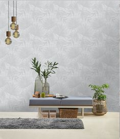 Beautiful, large scale botanical leaves are printed on top of a faux grasscloth background in this elegant floral wallpaper. A variety of bold tropical leaves, ranging from needle palms to monstera leaves, artistically overlap for a gorgeous jungle p Metallic Wallpaper, White Wallpaper, Geometric Wallpaper, Textured Wallpaper, Wallpaper Roll, Textured Background, Leaf Texture, Texture Design, Easy Up