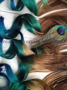 Peacock Inspired Hair Extensions//Human Hair//Golden Brown with Teal, Vibrant Blue and Green. Indian Remy human hair, hand drawn and double wefted. We use only Professional methods and materials. Our extensions are AAA quality and color used is Pro Feathered Hairstyles, Pretty Hairstyles, Luxy Hair, Ombre Hair Extensions, Burning Man, Hair Hacks, Hair Tips, Hair Ideas, Dyed Hair