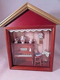 Vintage Reutter Porzellan Miniature Music Room Wooden Haning Shadowbox BEAUTIFUL #ReutterPorcelain
