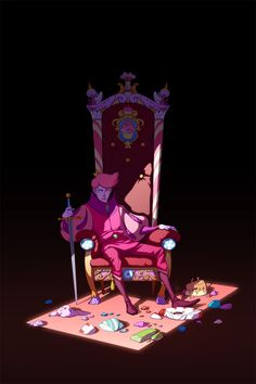 Prince Gumball's path to the throne was brutal. Fionna wasn't around during the Sugar Wars; Gumball distracts her by acting super bland and wearing disco pants.  Marshall Lee knows the truth, but as Chaotic Neutral, he just can't bring himself to give a shit.