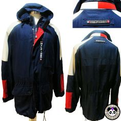 Tommy Hilfiger Performance Jacket Sz L Cold Water Stop Sailing Cycling Hood Coat #TommyHilfiger #BasicJacket #hiphop #tommy #th #performance #sailing