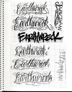 BJ Betts 3 Tattoo Flash Book Script Lettering Alphabet | eBay