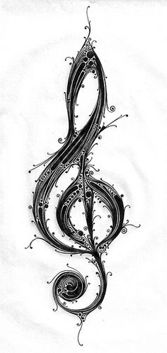 treble clef | Flickr - Photo Sharing! Letra Musical, Music Notes, Treble Clef Art, Treble Tattoo, Guitar Tattoo, Music Drawings, Art Drawings, Cello, Saxophone