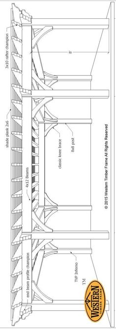 Plan for a 16′ x 32′ Over Size Timber Frame DIY Pergola #pergolaplans