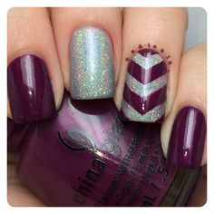 China Glaze Nice Caboose! and Orly Mirrorball. For the chevron I used nail vinyls by @teismom